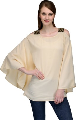 Natty India Casual Butterfly Sleeve Solid Women's Beige Top