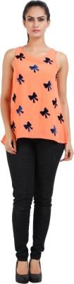 Prnas Casual Sleeveless Applique Women's Orange Top