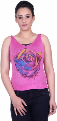 Sellsy Casual Sleeveless Solid Women's Pink Top