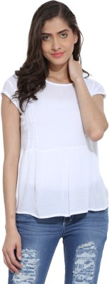 Ama Bella Casual Short Sleeve Solid Women's White Top