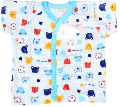 Baby Bucket Casual Short Sleeve Printed Baby Girl's Blue Top