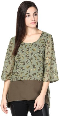 Abiti Bella Casual 3/4 Sleeve Graphic Print Women's Green Top