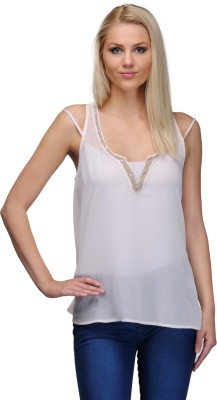Curvy Q Casual Sleeveless Solid Women's White, Gold Top