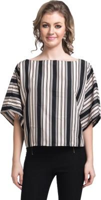 Uptownie Lite Casual Short Sleeve Striped Women's Beige Top