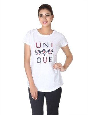 Broche Casual Short Sleeve Printed Women's White Top