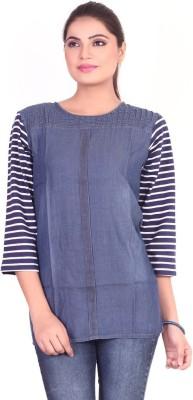 Pink Nine Casual 3/4 Sleeve Solid, Striped Women's Dark Blue Top