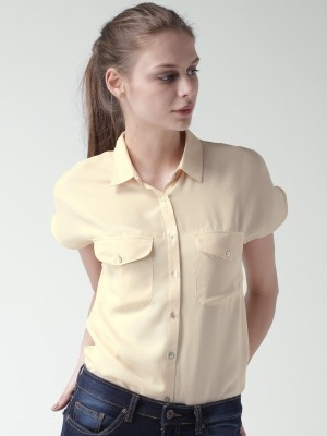 Mast & Harbour Casual Short Sleeve Solid Women's Beige Top