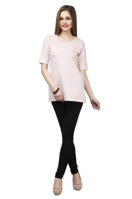 Glam & Luxe Casual Short Sleeve Polka Print Women's Red, White Top