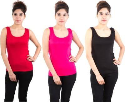 Piftif Beach Wear Sleeveless Solid Women's Multicolor Top