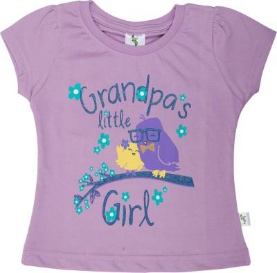 Cucumber Casual Cap sleeve Printed Baby Girl's Purple Top