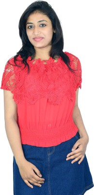 Shopaholic Fashion Casual Short Sleeve Printed Women's Red Top