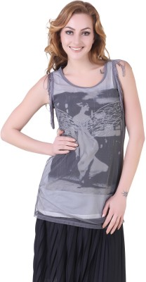 Yishion Casual Sleeveless Printed Women's White Top