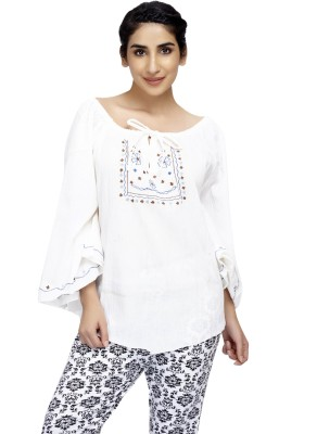 Cappadocia Casual Bell Sleeve Embroidered Women's White Top