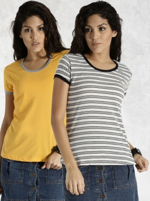 Roadster Casual Short Sleeve Striped Women's White Top