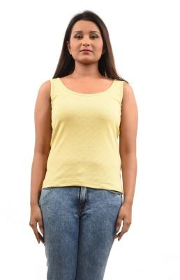 TeesTadka Casual Sleeveless Solid Women,s Yellow Top