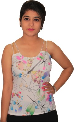 NITRA Casual, Party Sleeveless Floral Print Women's White, Multicolor Top