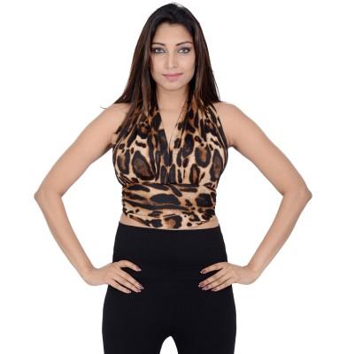 Danzon Party, Casual, Beach Wear Sleeveless Animal Print Women's Black, Brown Top