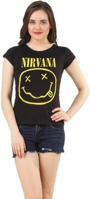 Nirvana Casual Short Sleeve Printed Women's Black Top