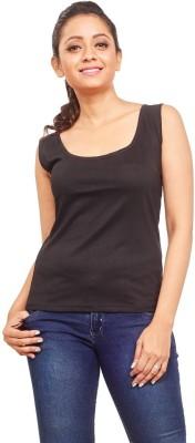 ELINA Casual, Party, Sports, Lounge Wear, Beach Wear Sleeveless Solid Women's Black Top