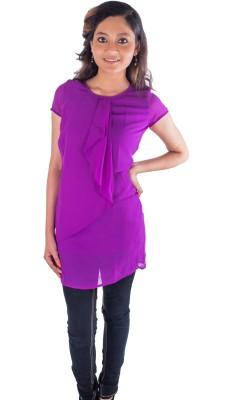 Buenos Dias Casual Short Sleeve Solid Women's Purple Top