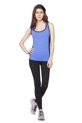 Channel Nine Casual Sleeveless Solid Women's Blue Top