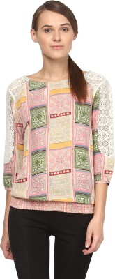 Annapoliss Casual 3/4 Sleeve Printed Women's Multicolor Top
