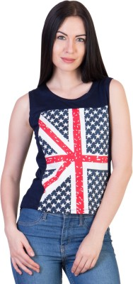 Ants Casual Sleeveless Printed Women's Blue Top at flipkart