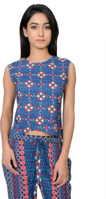 Juniper Casual Sleeveless Printed Women's Blue Top