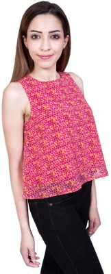 Urban Religion Casual Sleeveless Self Design Women's Pink Top