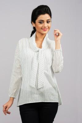 Moda Vastra Casual Full Sleeve Striped Women's White Top