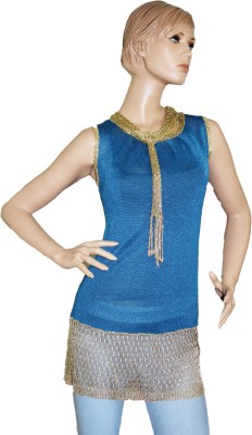 SayAlo Party Sleeveless Woven Women's Blue Top