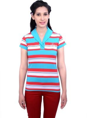 Duke Stardust Casual Short Sleeve Striped Women's Blue Top