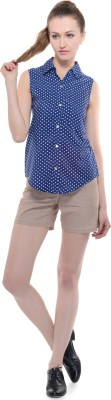 A Luv Ya Casual Sleeveless Polka Print Women's Blue, White Top