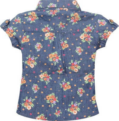 VITAMINS Casual Roll-up Sleeve Graphic Print Baby Girl's Blue Top