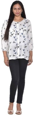 Entease Casual 3/4 Sleeve Printed Women's White Top
