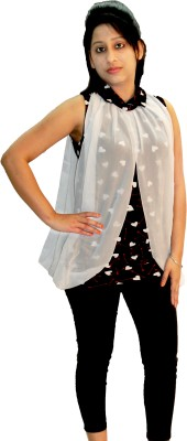 Shonaa Party, Festive Sleeveless Solid, Printed Women's White, Multicolor Top
