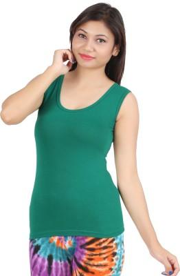 Rham Gold Casual Sleeveless Solid Women's Green Top
