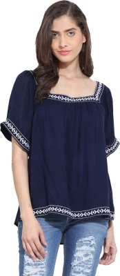 Ama Bella Casual Short Sleeve Embroidered Women's Blue Top