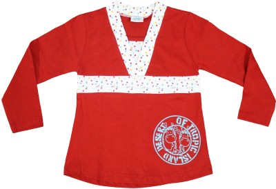 Mankoose Casual Full Sleeve Printed Girl's Red, White Top