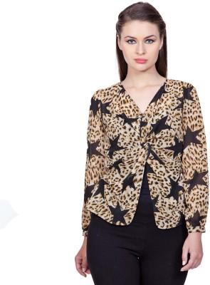 Stylestone Casual, Formal, Lounge Wear, Beach Wear, Party Full Sleeve Animal Print Women's Black, Brown Top
