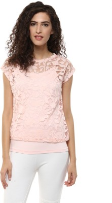 BLUE ISLE Casual Cap sleeve Floral Print Women's Pink Top