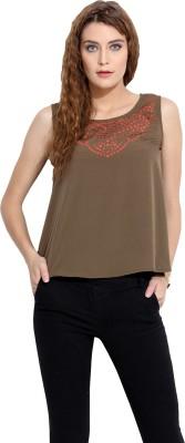 Porsorte Casual Sleeveless Solid Women's Green Top