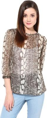 TheGudLook Casual 3/4 Sleeve Animal Print Women's Brown Top