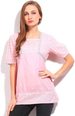 Imara Casual Short Sleeve Printed Women's Pink Top