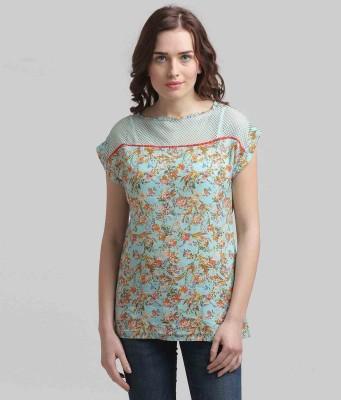 Moda Elementi Casual Short Sleeve Printed Women's Blue Top