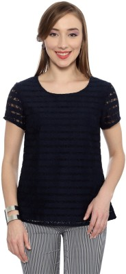 Van Heusen Casual Short Sleeve Self Design Women's Dark Blue Top