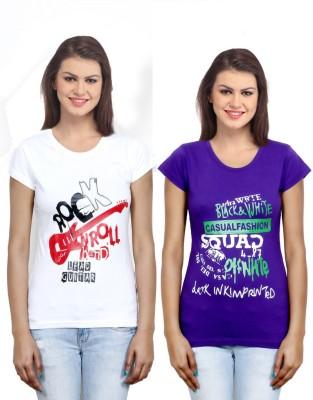 IndiWeaves Casual Short Sleeve Printed Girl's White, Purple Top