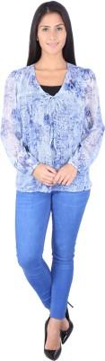 Fashionwardrobe Casual Full Sleeve Printed Women,s Blue Top