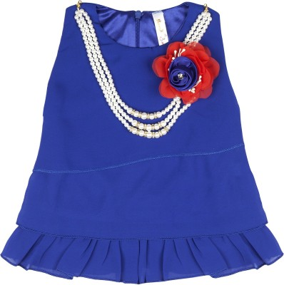 Hunny Bunny Party Sleeveless Solid Girl's Blue Top