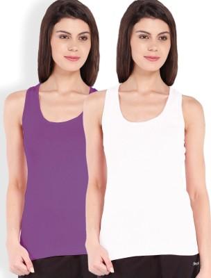 Beyouty Casual Sleeveless Solid Women's White, Purple Top